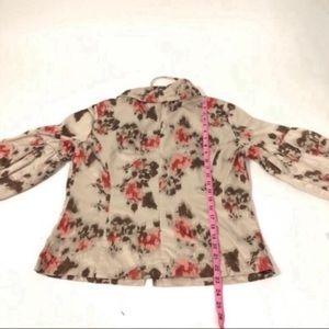 Tribal Jackets & Coats - Tribal floral bell sleeve zip light jacket blazer